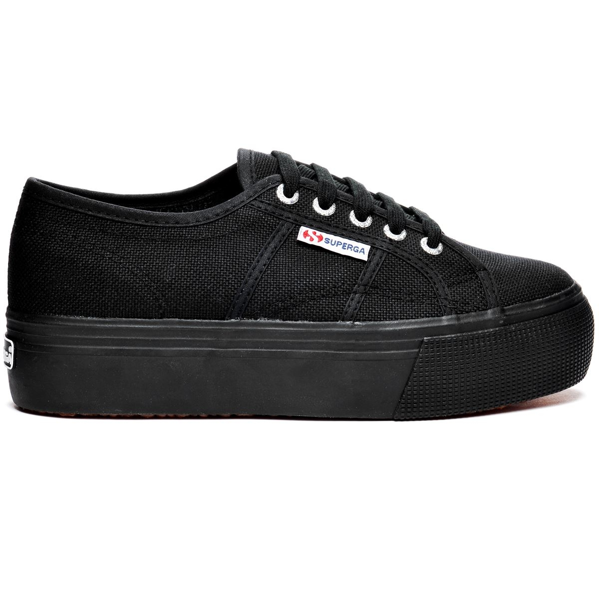 SUPERGA 2790 zeppa 4cm Scarpe DONNA tela ACOTW up and down Nero Prv/Est 996upmad
