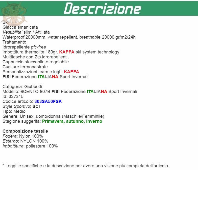 KAPPA-6CENTO-607B-FISI-SCI-Giubbotti-UOMO-DONNA-giacca-IMBOTTITA-Blu-911gglwtgs