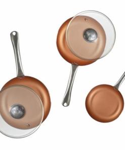 Padelle antiaderenti professionali con rivestimento in rame set 5 pezzi